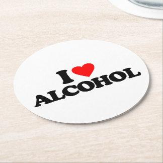 I LOVE ALCOHOL ROUND PAPER COASTER
