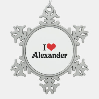 I Love Alexander Snowflake Pewter Christmas Ornament