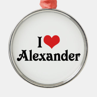 I Love Alexander Silver-Colored Round Decoration