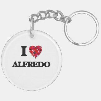 I Love Alfredo Double-Sided Round Acrylic Key Ring