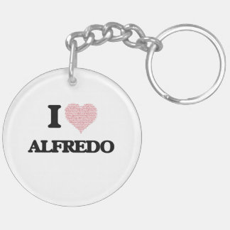 I Love Alfredo (Heart Made from Love words) Double-Sided Round Acrylic Key Ring