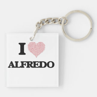 I Love Alfredo (Heart Made from Love words) Double-Sided Square Acrylic Key Ring