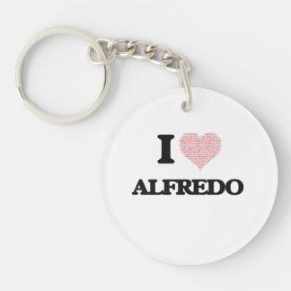 I Love Alfredo (Heart Made from Love words) Single-Sided Round Acrylic Key Ring