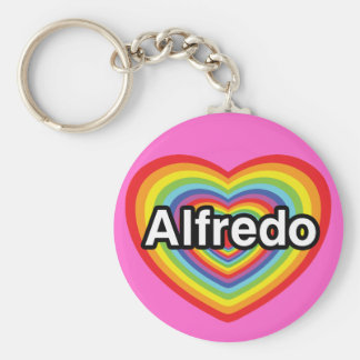 I love Alfredo, rainbow heart Basic Round Button Key Ring