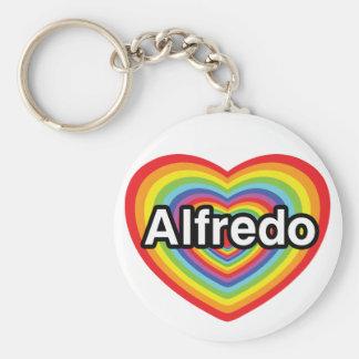 I love Alfredo, rainbow heart Basic Round Button Key Ring