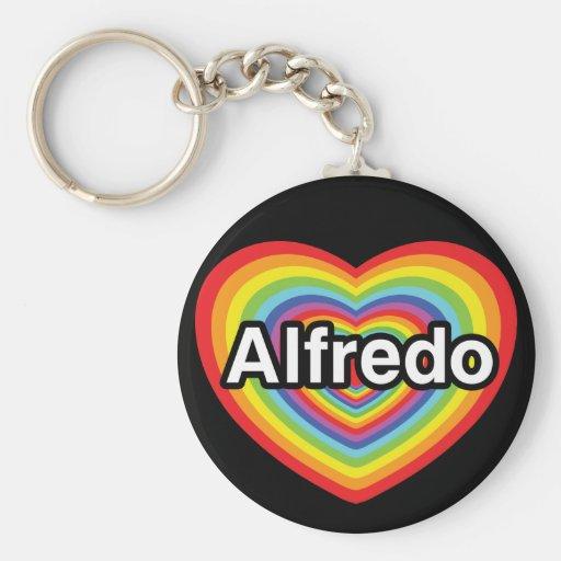 I love Alfredo, rainbow heart Key Chains