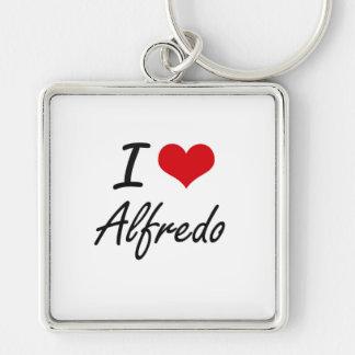 I Love Alfredo Silver-Colored Square Key Ring