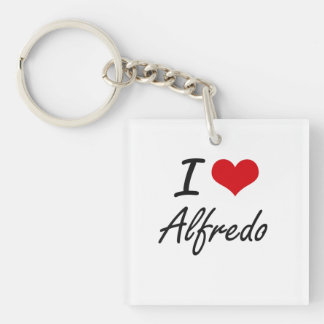 I Love Alfredo Single-Sided Square Acrylic Key Ring