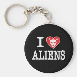 I Love Aliens Basic Round Button Key Ring