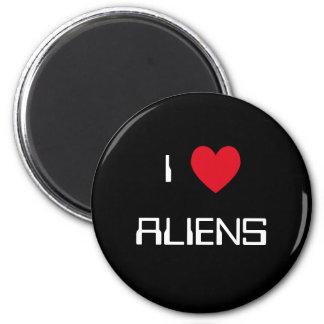 I Love Aliens 6 Cm Round Magnet