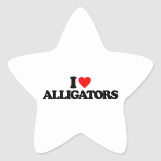 I LOVE ALLIGATORS STAR STICKER