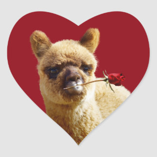 I Love Alpacas Heart Stickers for Animal Lovers