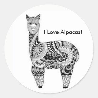 """I Love Alpacas!"" Stickers"