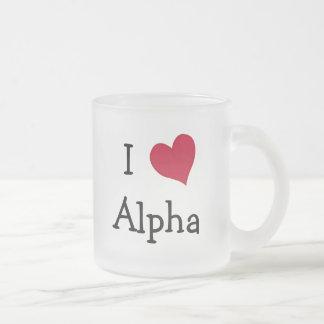 I Love Alpha Frosted Glass Coffee Mug
