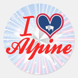 I Love Alpine, Wyoming Round Sticker