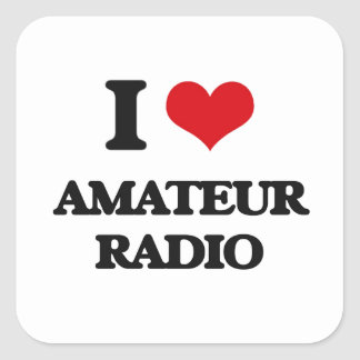 I Love Amateur Radio Square Sticker