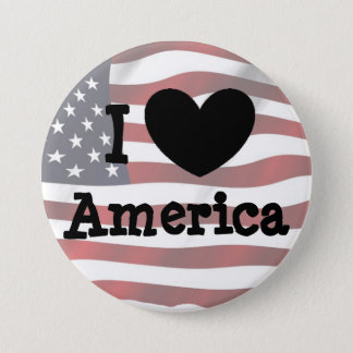 I Love America, American Flag Button