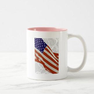 I love America - American Flag Two-Tone Mug