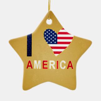 I LOVE AMERICA CERAMIC STAR DECORATION