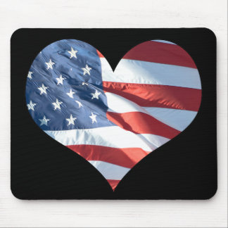I Love America - Heart Shaped American Flag Mouse Pad