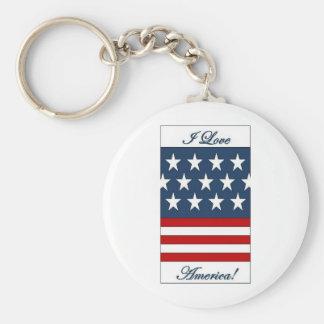 I_Love_America Basic Round Button Key Ring