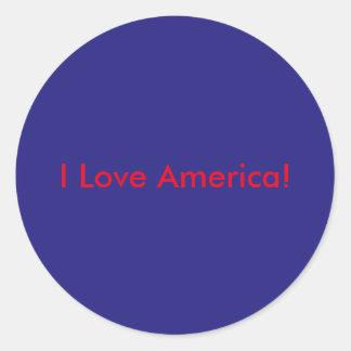 I Love America Round Sticker