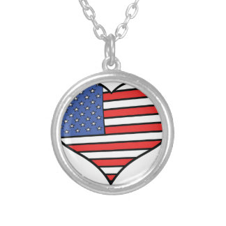 I love America -  United States of America pride Silver Plated Necklace