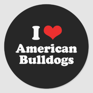 I Love American Bulldogs Classic Round Sticker