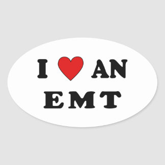 I Love An EMT Oval Sticker