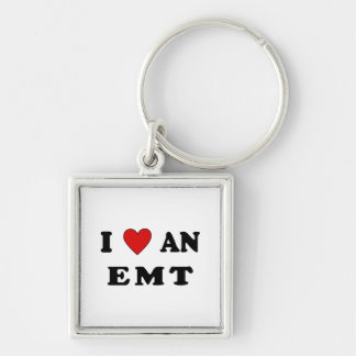 I Love An EMT Silver-Colored Square Key Ring