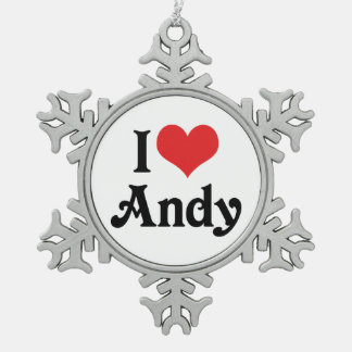 I Love Andy Snowflake Pewter Christmas Ornament