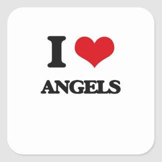 I Love Angels Square Stickers