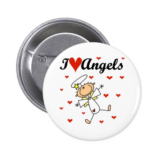 I Love Angels T-shirts and Gifts Buttons