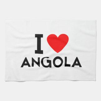 i love Angola country nation heart symbol text Tea Towel