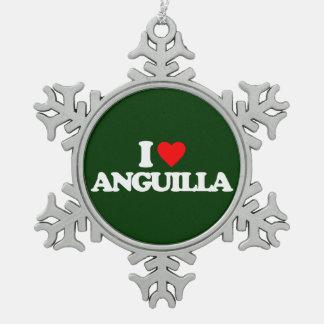 I LOVE ANGUILLA SNOWFLAKE PEWTER CHRISTMAS ORNAMENT