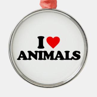 I LOVE ANIMALS CHRISTMAS TREE ORNAMENTS