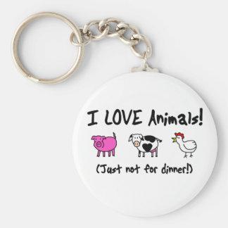 I Love Animals Vegetarian Key Ring