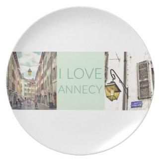 """I Love Annecy"" Melamine Plate"