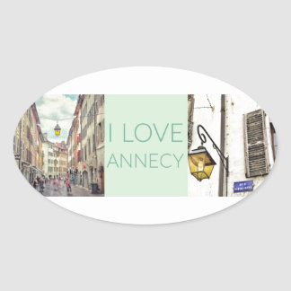"""I Love Annecy"" Stickers (Oval)"