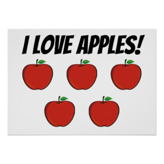 I Love Apples (5 apple) Poster