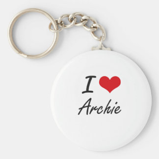 I Love Archie Basic Round Button Key Ring
