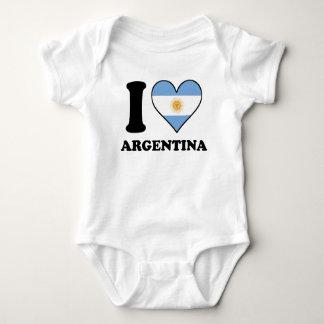 I Love Argentina Argentinian Flag Heart Baby Bodysuit