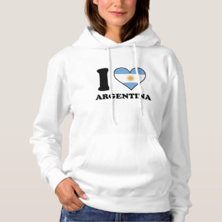 I Love Argentina Argentinian Flag Heart Hoodie