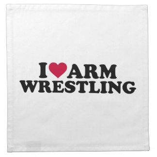I love Arm wrestling Printed Napkin