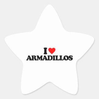 I LOVE ARMADILLOS STAR STICKERS