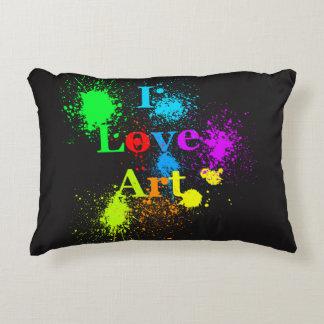 I Love Art   color paint splatter & drips Decorative Cushion