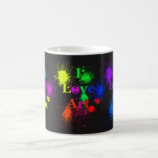 I Love Art   glowing color paint splatter & drips Coffee Mug