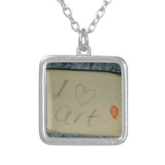 I love Art Square Pendant Necklace