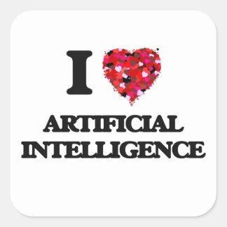 I Love Artificial Intelligence Square Sticker