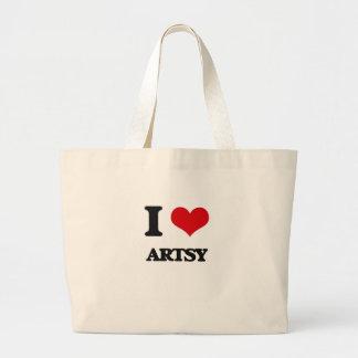 I Love Artsy Canvas Bag